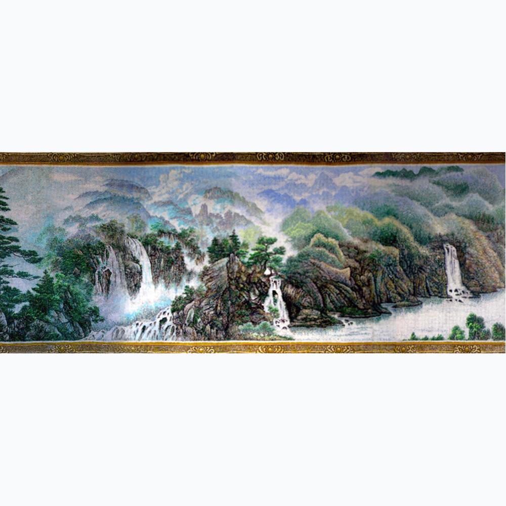 简单毛线粘贴画 乡村风景毛线画 毛线壁挂风景